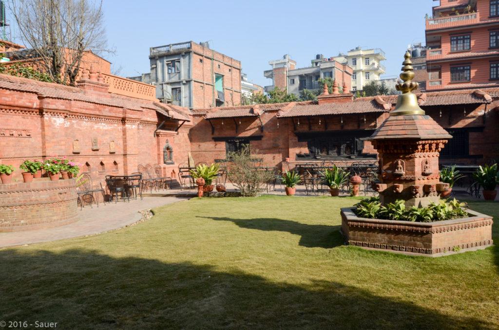 Innenhof des Hotels International Guesthouse in Kathmandu
