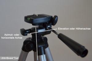 Beispiel einer Azimutalen Montierung anhand eines herkömmlichen Fotostativs.