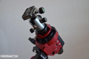 Stativkopf Kugelkopf über Kameraadapter direkt auf dem Star Adventurer befestigt