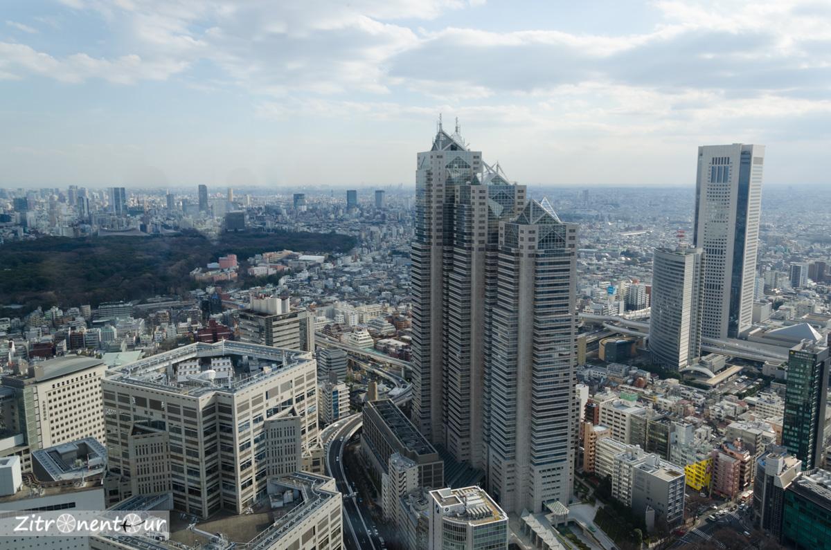 Aussicht aus dem Government-Building nach Süden mit Blick Richtung Meiji-Park