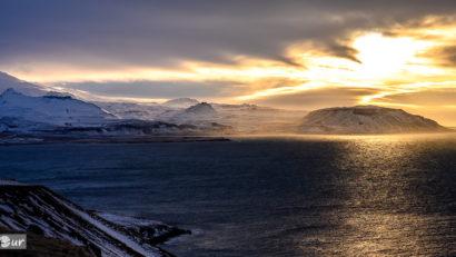 Sonnenuntergang über dem Snæfellsjökull auf Snæfellsnes
