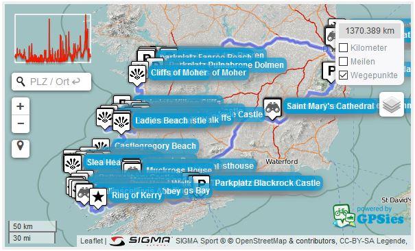 Kartenansicht Irland Trip Wild Atlantic Way Route mit Sehenswürdigkeiten