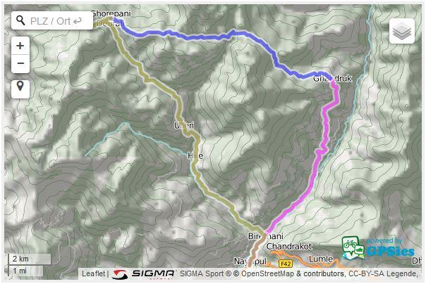 Kartenansicht der Tagesstrecken der Wanderung von Nayapul nach Poon Hill