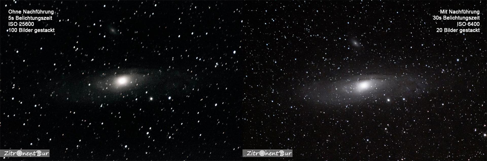 Vergleichsaufnahmen der Andromeda-Galaxie M31 links ohne Nachführung und rechts mit nachgeführter Kamera. Ohne Nachführung sind bereits deutlich Sternspuren zu erkennen.