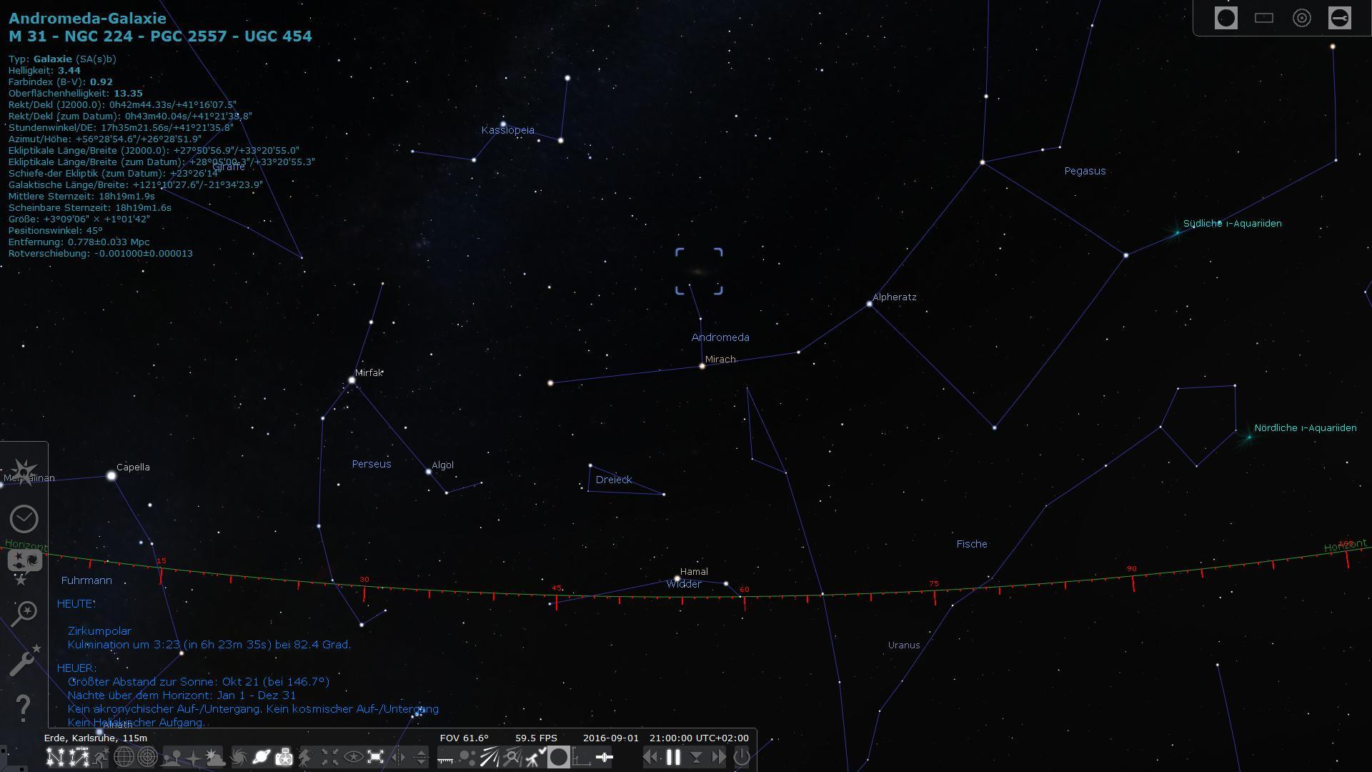 Auffinden der Andromeda-Galaxie über die Sternbilder Kassiopeia und Andromeda oder Pegasus.
