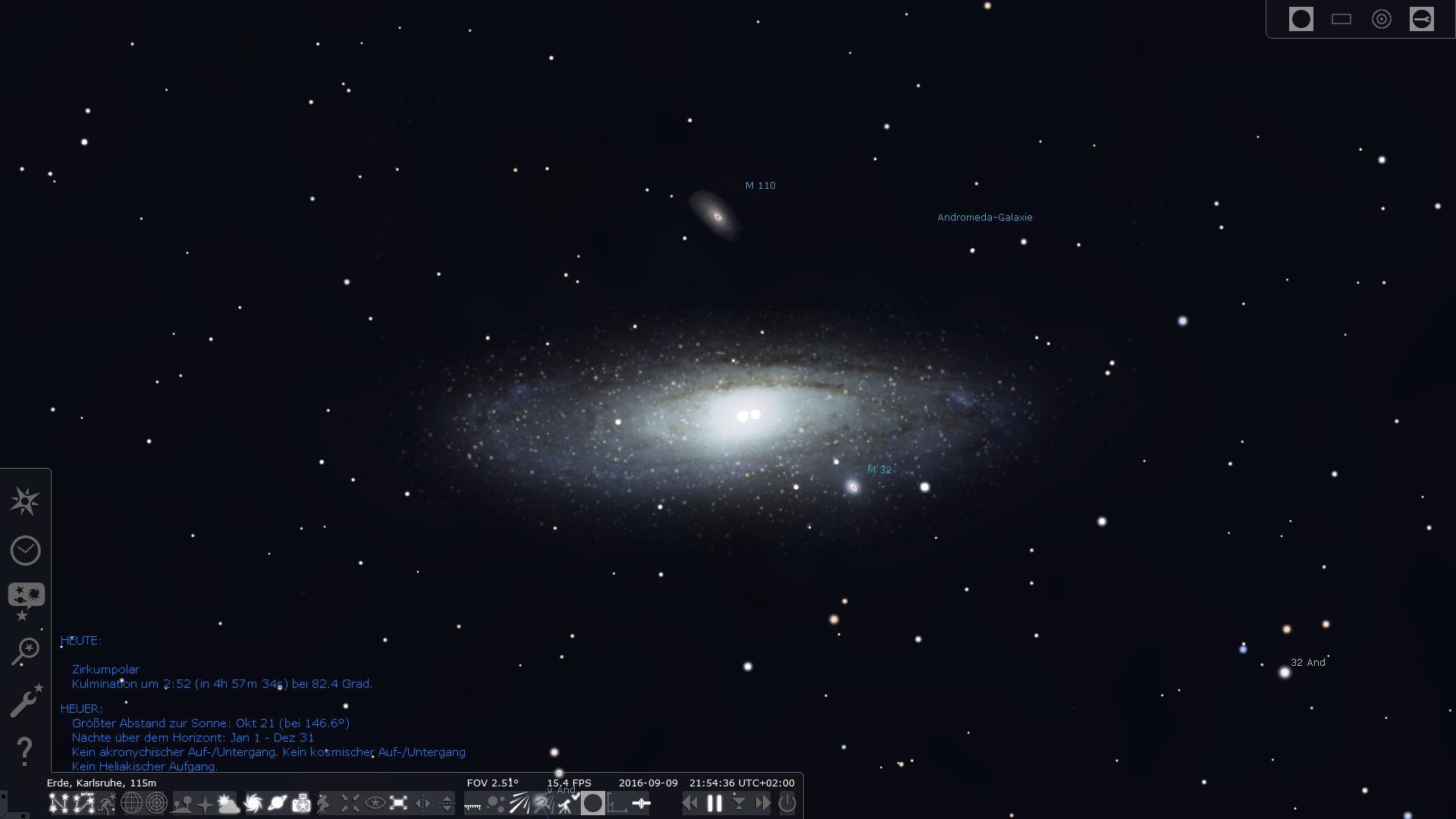 Nahansicht der Andromeda-Galaxie M 31 mit ihren Begleitern M 110 und M 32 in Stellarium.